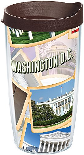 Tervis 1235577 Washington DC Collage Tumbler with Wrap and Brown Lid 16oz, - Dc Monument Lincoln Washington