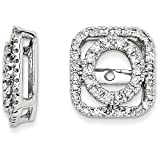 0.50 Carat (ctw) 14k Gold Diamond Square Shape Removable Jackets for Round Stud Earrings 1/2 CT