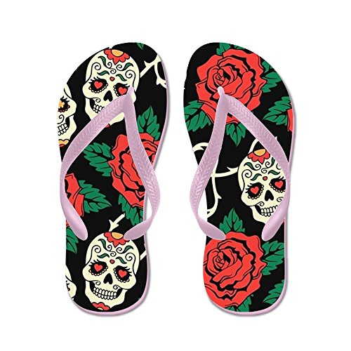Cafepress Skulls And Roses - Chanclas, Sandalias De Tanga Divertidas, Sandalias De Playa Rosa