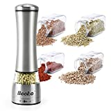 Becko Manual Salt / Pepper Mills / Stainless Steel Spice Grinder with Clear Acrylic Construction for Course to Fine Grind
