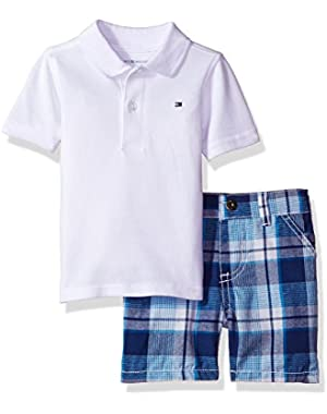 Tommy Hilfiger Baby Boys' 2 Pieces Polo and Plaid Short Sets, White, 6/9M