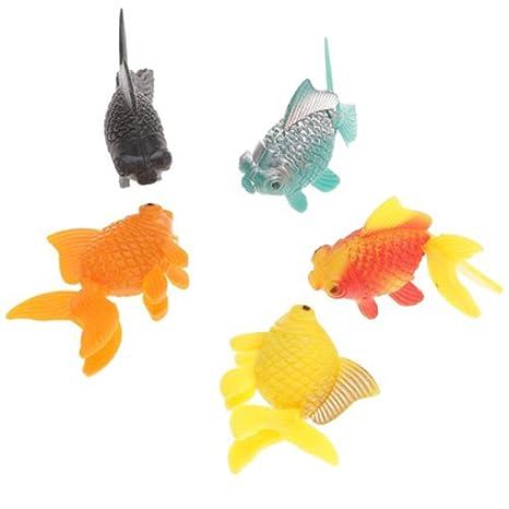 PIXNOR 5 piezas artificiales peces tibertano para Pecera Acuario (color al azar)
