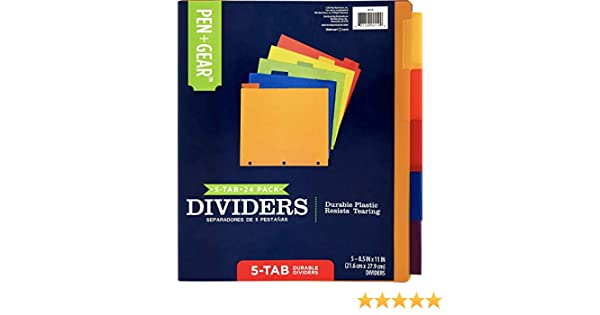 Letter Size 6-pack Gear 5-tab Durable Divider with Pockets Pen