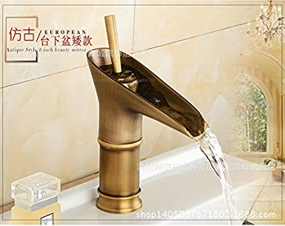 Ling@ The Waterfall Faucet Antique Fittings Pulled Tap Spring Mixer Basin Hot/Cold Running Water