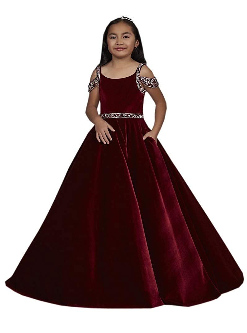 f9c143b0620 Amazon.com: DommyDesign Velvet Girls' Pageant Dress Cold Shoulder ...