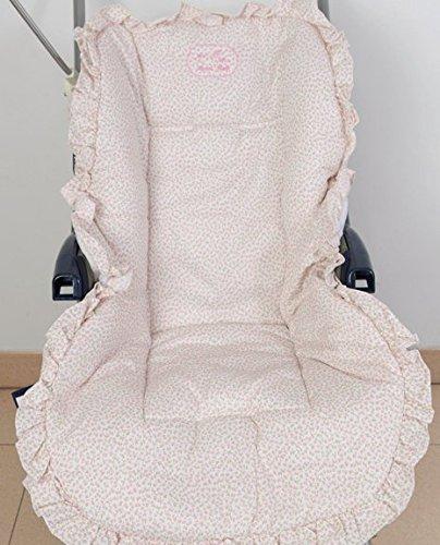Colchoneta para silla de paseo universal flor rosa. Funda silla de coche. Mundi Bebé.