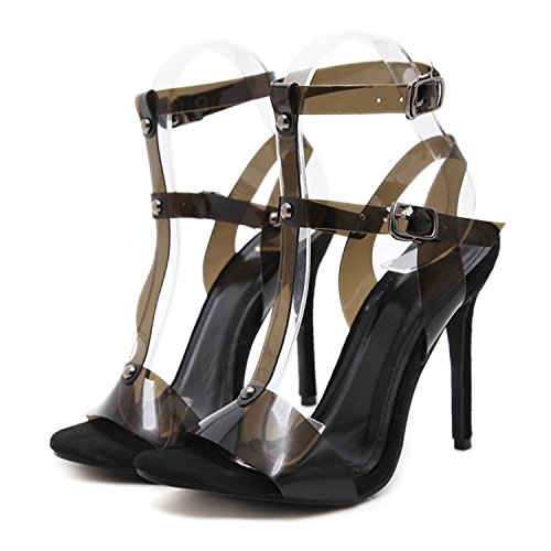 Engineeringed 2018 New Spring Women High Heels Shoes Fashion Women Gladiator Peep Toe Pumps Buckle Strap Clear Transparent High Heel Pumps Black 6