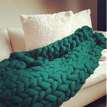 FOHOMA Dark Fir Green Chunky Knit Blanket 8cm Thick Wool Bulky Hand Knitted Throw Soft Sofa Blanket Pet Bed (Dark Fir Green, Chunky Throw Blanket-blush-100120)