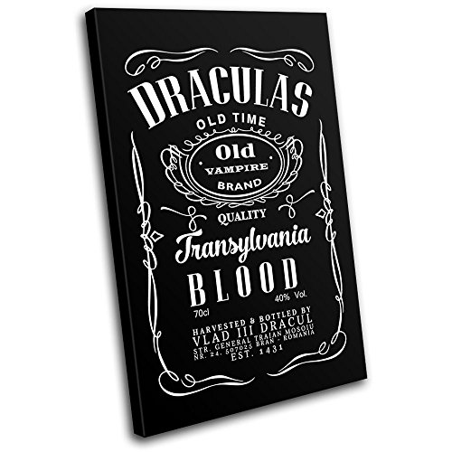 Bold Bloc Design - Halloween Dracula Parody Typography 90x60cm SINGLE Canvas Art Print Box Framed Picture Wall Hanging - Hand Made In The UK - Framed And Ready To Hang ()