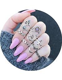 WAINIS 79Pcs Vintage Knuckle Ring Set for Women Girls Stackable Hollow Carved Flowers Midi Finger Ring Set