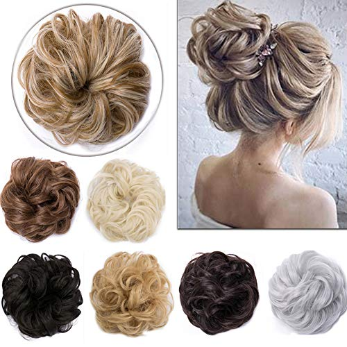 Updo Hair Extensions Synthetic Hair Bun Wavy Donut Bride Scrunchy Messy Hairpieces 2 Pieces 45g/pcs Golden Brown-Thicker