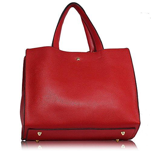 Tote Compartment Designer Women Handbag 1 Red Extra Shoulder Leather Design XL Ladies Faux bags Large 3 Tvxwzz