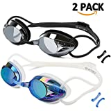 VETOKY Swim Goggles, Anti Fog Swimming Goggles UV Protection Mirrored & Clear No Leaking Triathlon Equipment for Adult and Children Over 8 Years Old