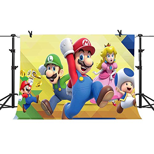 PHMOJEN Super Mario Bros Photography Background 7x5ft Cartoon Kids Children Birthday Party Backdrop Baby Shower Decoration Studio Props PPH028 by PHMOJEN