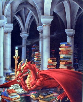 Priceless Treasure Dragon Sue Dawe Fantasy Kids Room Wall Decor Art Print Poster (16x20) -