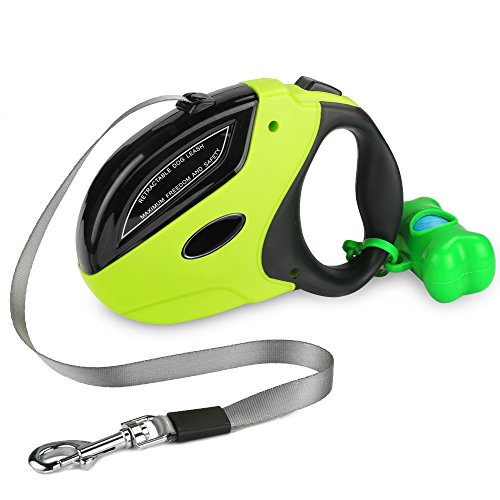 Rosmax Retractable Dog Leash,16 Ft Dog Walking Leash For Small Medium Large Dogs up to 110 lbs,Heavy Duty No Tangle Pet Lead,One Button Break and Lock,Dog Waste Bags Included