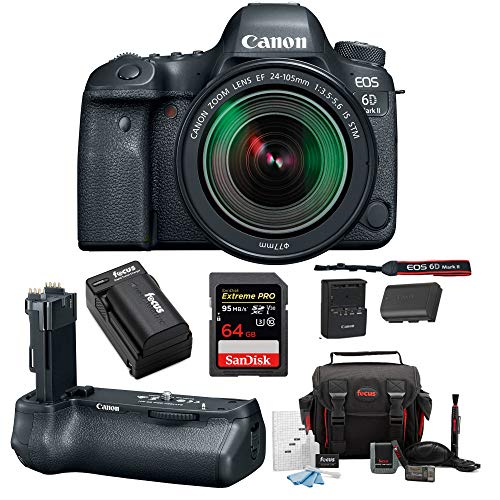 Canon EOS 6D Mark II DSLR Camera with 24-105mm f/3.5-5.6 Lens + Canon BG-E21 Battery Grip 64GB SD Card SLR Bag & Battery with Charger Advanced Travel Kit