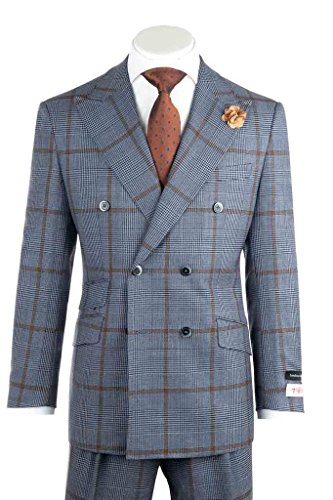 Pure Wool Suit - Tiglio Rosso EST Blue and Black Houndstooth with Brown Windowpane Wide Leg, Pure Wool Suit 225314/1