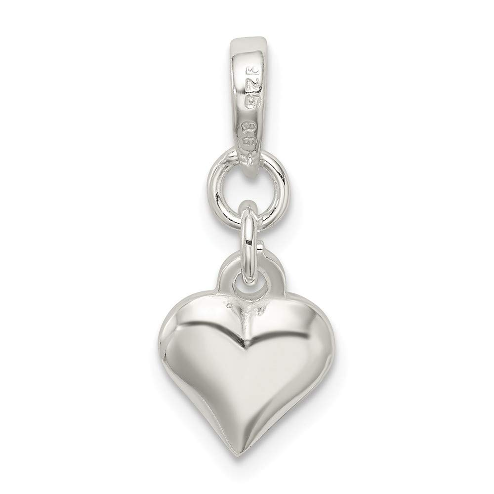 FB Jewels Solid 925 Sterling Silver Enameled Heart Charm