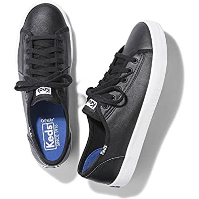 Keds Women's Kickstart Leather Fashion Sneaker Black, 5 B(M) US