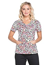 Dickies Everyday Scrubs Signature by Women's V-Neck Animal Print Scrub Top