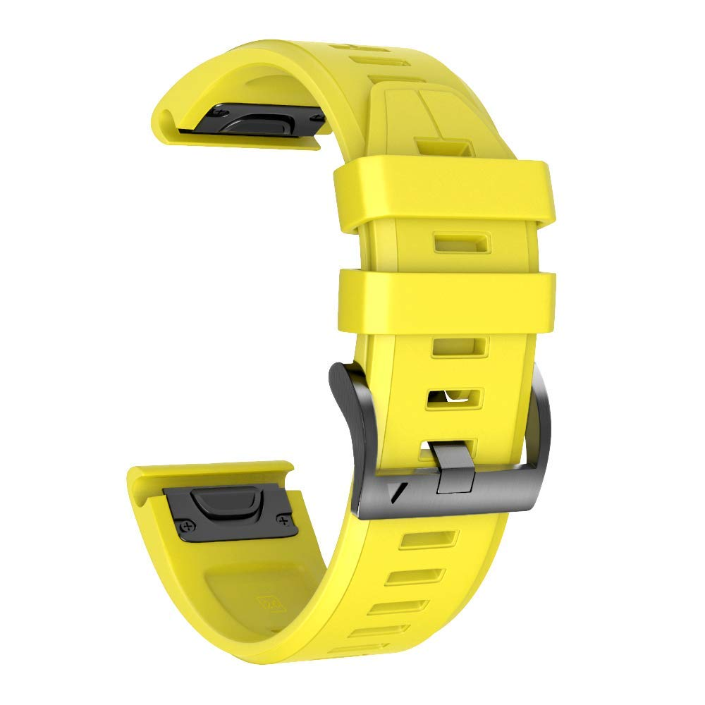 ANCOOL Compatible Fenix 5X Plus Band 26mm Easy Fit Silicone Smartwatch Bands Replacement for Fenix 6X/Fenix 6X Pro/Fenix 5X/Fenix 5X Plus/Fenix 3/Fenix 3 HR (Yellow) by ANCOOL
