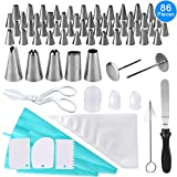 Cake Piping Tips Set, 86 Pieces Cake Decorating Nozzles Kit Professional Stainless Steel Piping Kit by AUSTOR