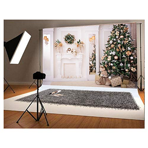 10x6.5ft Green Christmas Tree Photo Backgrounds Wrinkle Free White Fireplace Cute Rabbit Gift Photography Backdrops for Child -