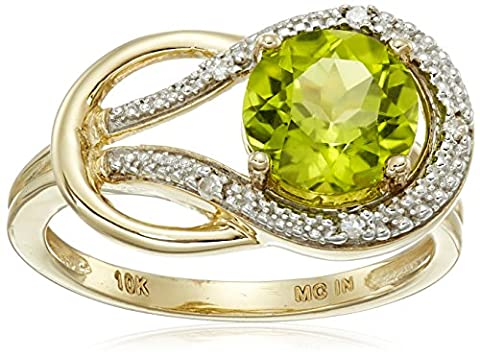 Peridot and Diamond Accent Love Knot Ring in 10k Yellow Gold, Size 5 (10k Gold Ring Size 5)