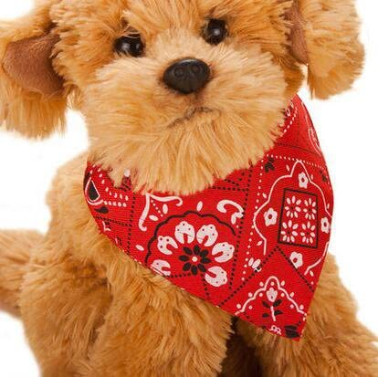 Red ericotry Adjustable Pet Dog Cat Bandana Scarf Collar Neckerchief Puppy Pet Products Collars Scarves Triangle Bibs Scarf Pet Accessories for Dogs Cats Pets Animals Small