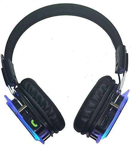 Glowing Bluetooth Headphones Over Ear, Hi-Fi Stereo Wireless Headset, Foldable, Soft Memory-Protein Earmuffs, w Built-in Mic and Wired Mode for PC Cell Phones TV