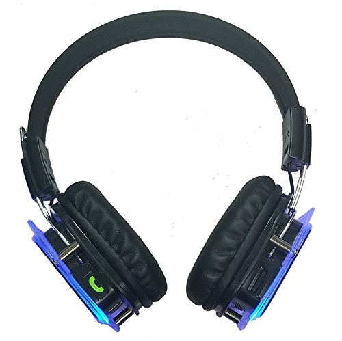 Glowing Bluetooth Headphones Over Ear, Hi-Fi Stereo Wireless Headset, Foldable, Soft Memory-Protein Earmuffs, w/Built-in Mic and Wired Mode for PC/Cell Phones/TV