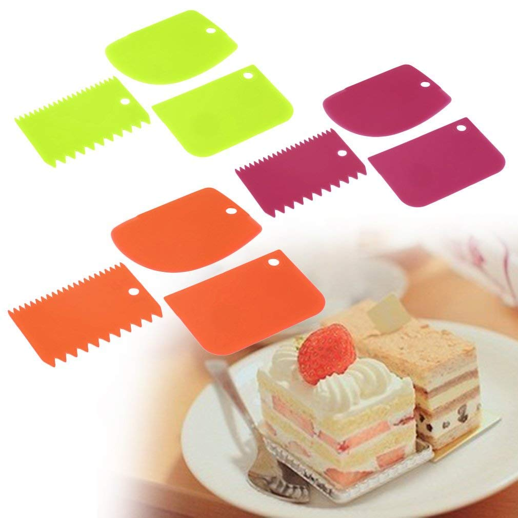 Tcplyn Premium Quality 3X Plastic Dough Fondant Scraper Cake Decorating Plain Smooth Jagged Edge Home Accessories
