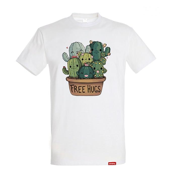 75664592d Pampling Camiseta Soft Hugs - Cactus - Free Hugs - 100% Algodón - Serigrafía   Amazon.es  Ropa y accesorios