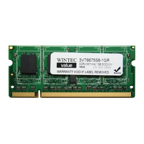 Wintec Value MHz 1GB SODIMM Retail 1Rx8 1 Not a Kit (Single) DDR2 667 (PC2 5300) 200-Pin SO-DIMM 3VT6675S8-1GR