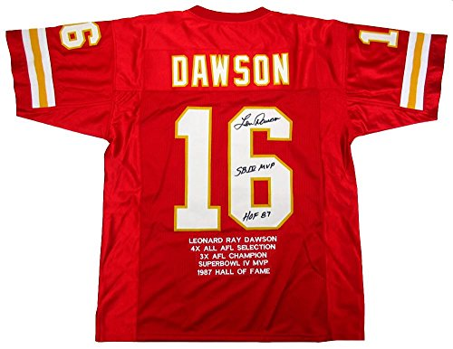 Len Dawson Signed Kansas City Chiefs Throwback Custom Red Embroidered Jersey with