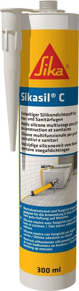 Sika Sil-C - Sellador fungicida de silicona neutro - Sika - Cartucho de 300 ml, color blanco