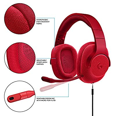 Logitech 981-000650 G433 7.1 Wired Gaming Headset with DTS Headphone: X 7.1 Surround for PC, PS4, PS4 PRO, Xbox One, Xbox One S, Nintendo Switch – Red