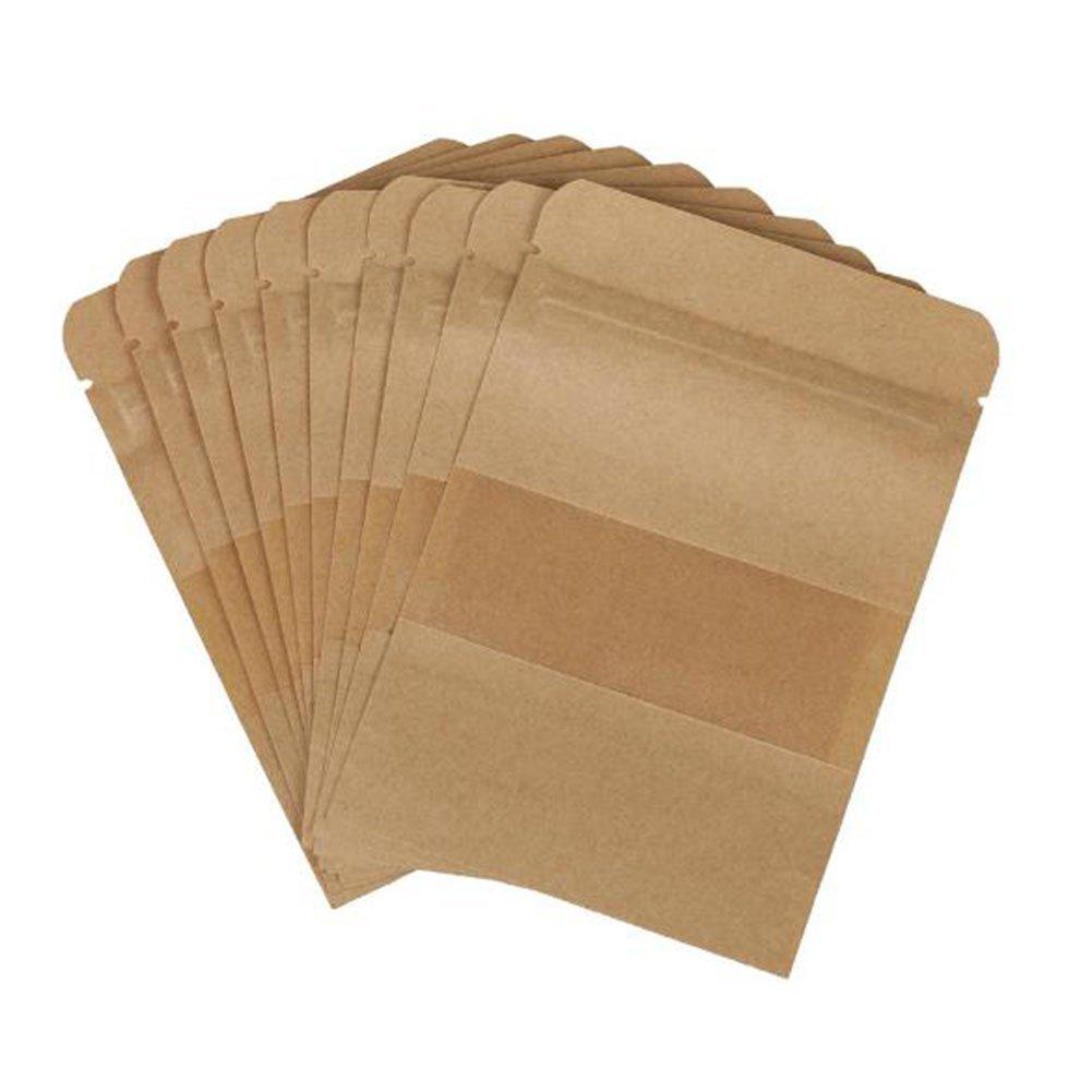Carta Kraft Daorier 100pcs richiudibili sacchetti con chiusura a zip Bags imballaggio con finestrella trasparente per tè, caffè, chicchi di titanio Sead alimenti secchi 10×15×4