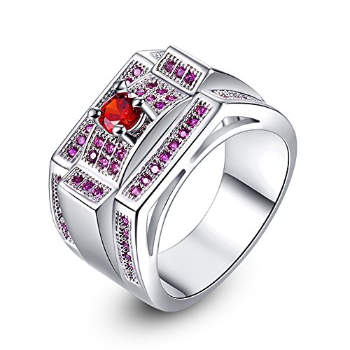 Emsione Created Garnet 925 Silver Plated Ring for Women ()