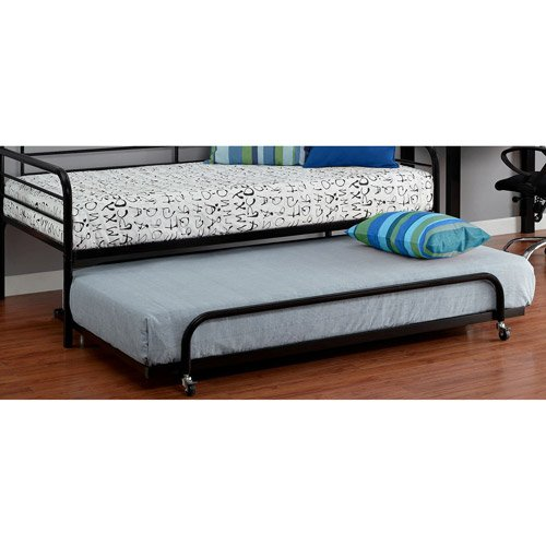 Black Twin Trundle for Metal Daybed, Space Saving Shape, Metal Frame, Living Room, Bedroom Furniture, Made from Metal, Bedding, Bundle with Our Expert Guide with Tips for Home - Daybed Camp