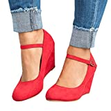 Syktkmx Womens Ankle Strap Mary Jane Wedges Pumps Closed Toe Spring Heeled Office Shoes Red 8 B(M) US
