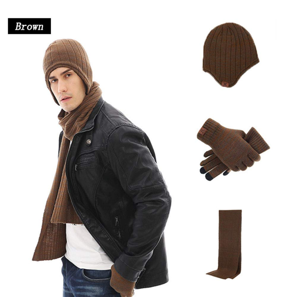 Mhxzkhl Beanie Hat Scarf And Glove Set, Men And Women Winter Thermal Knitted Scarf Beanie Cap And Touch Screen Stretch Mitten Unisex, Winter Warm Gift Three-Piece,Brown [Energy Class A]