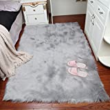 Elhouse Home Decor Soft Mat Rectangle Rugs Faux Fur Sheepskin Area Rug Baby Nursery Bedroom Shaggy Carpet Fluffy Rug, 3ft x 5ft Grey