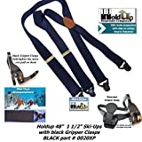 American made HoldUp Black Snow Ski-Ups X-back Suspenders with Patented black Gripper Clasps
