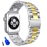 HUANLONG Solid Stainless Steel Metal Apple Watch Band Unique Polishing Process Business Replacement iWatch Strap Watchband with Durable Folding Clasp for Apple Watch(Silver/Gold 42mm)
