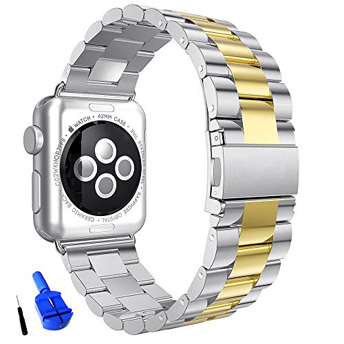 Huanlong New Solid Stainless Steel Metal Replacement 3 Pointers Watchband Bracelet with Double Button Folding Clasp for Apple Watch Iwatch Series 1 Series 2(silver/gold - Solid New Gold The