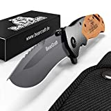 Rescue Survival Knife - BearCraft Folding Knife in Carbon Design | Outdoor Survival Pocket-Knife | One-Hand Rescue Knife with Glass Breaker and Belt Cutter