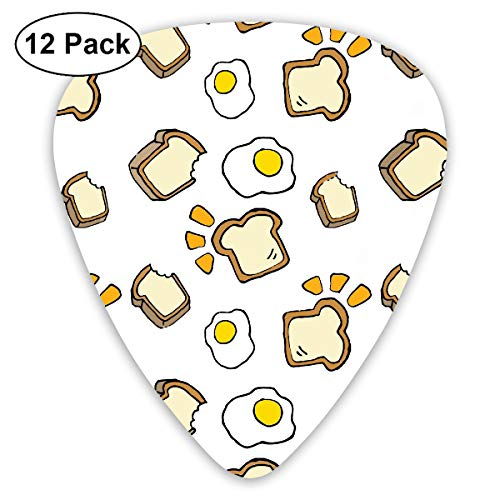 KIMBERLYBLAINE Fried Egg and Bread with Face Emotions Guitar Picks Premium Picks Sampler Includes Thin, Medium, Heavy Gauges 12 Pack