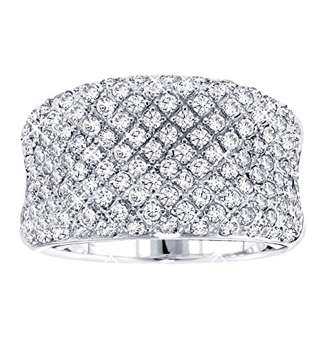 VIP Jewelry Art 2.00 CT TW Pave Set Concave Diamond Anniversary Ring in 14k White Gold - Size 12 (Cut Ring Diamond Concave)